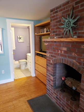 Provincetown Cape Cod vacation rental - Entry to the bathroom and TV
