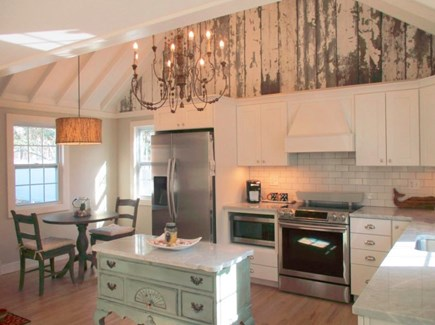 Harwich Port Cape Cod vacation rental - Kitchen with new stainless steel appliances and high ceilings.