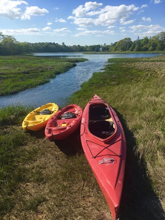 Onset MA vacation rental - 2 single kayaks and a double just 10 steps from the water!