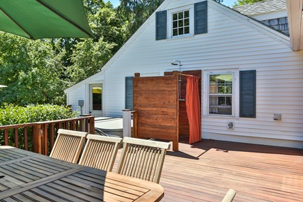 Harwich Cape Cod vacation rental - A view of the deck showing the outdoor shower and the hot tub