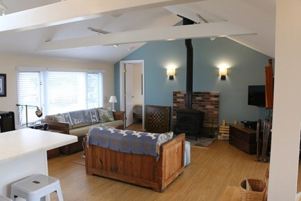 Eastham, Bay Side, North of Campground  Cape Cod vacation rental - Family room, Wifi, cable, ceiling fan, AC, water views.