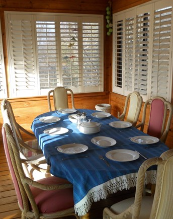 West Falmouth Cape Cod vacation rental - Summer Room Dining Area