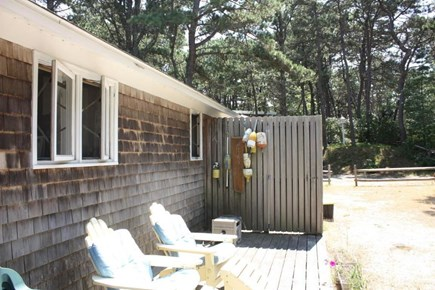 Wellfleet Cape Cod vacation rental - Lounge in the back yard, bbq or play croquet! Shower outdoors!