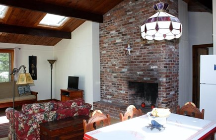 Wellfleet Cape Cod vacation rental - Living room with 2 large skylights, fireplace, queen futon