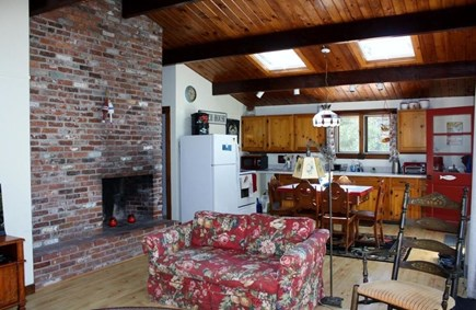 Wellfleet Cape Cod vacation rental - View of living room and kitchen with two more large skylights
