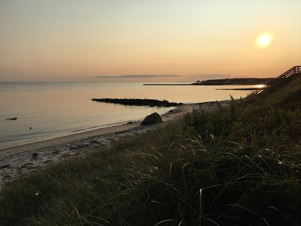 South Chatham Cape Cod vacation rental - Sunset at Nantucket Sound Beach just steps down the private lane.