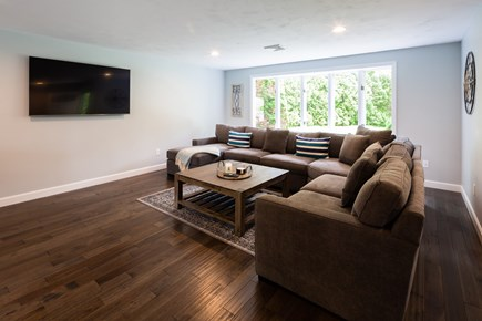 Barnstable Cape Cod vacation rental - Living area with comfy couch and flat screen TV