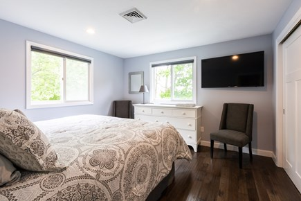 Barnstable Cape Cod vacation rental - King bedroom on main level with TV and views of the pond