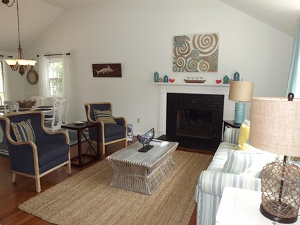South Chatham Cape Cod vacation rental - Cathedral living room open to the dining area and kitchen.