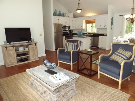 South Chatham Cape Cod vacation rental - View of the living room showing the tv area.