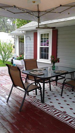 Eastham Cape Cod vacation rental - Outside charming deck,Grill,romantic outdoor fireplace,Canopy.