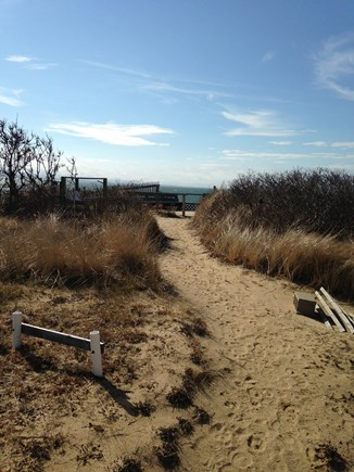 Eastham Cape Cod vacation rental - Pathway from porch to private deck and stairs