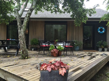 North Truro Cape Cod vacation rental - An apple tree gives shade to the spacious deck.