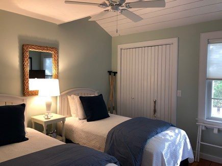 New Seabury, Maushop Village  New Seabury vacation rental - The first level bedroom offers two twin beds, ceiling fan & tv.