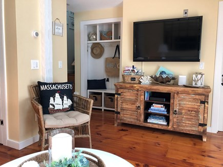 New Seabury, Maushop Village  New Seabury vacation rental - The light & airy living area with flat screen TV & built-ins.