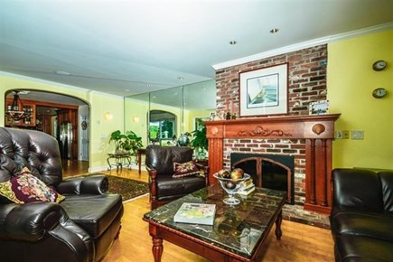 South Yarmouth Cape Cod vacation rental - Living room fireplace
