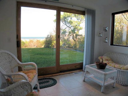 Brewster Cape Cod vacation rental - First level master bedroom sitting area with bay views.