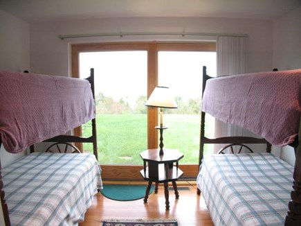 Brewster Cape Cod vacation rental - First level bunk room with sliding doors facing the bay.