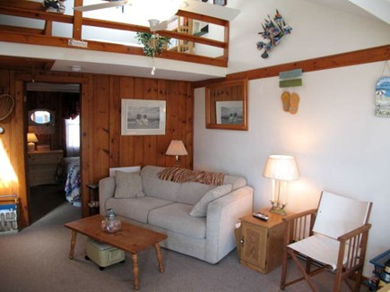 Dennis Port Cape Cod vacation rental - Living Area has a TV and ceiling fan