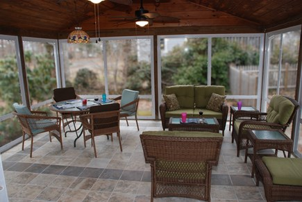 South Dennis Cape Cod vacation rental - You will spend hours on this porch. 2 ceiling fans keep you cool.