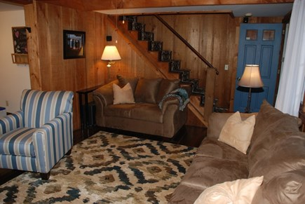 South Dennis Cape Cod vacation rental - Living room, stairway to the 2nd floor