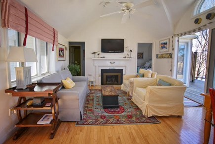 Hyannis Port Cape Cod vacation rental - Comfy livingroom with gas insert fireplace.