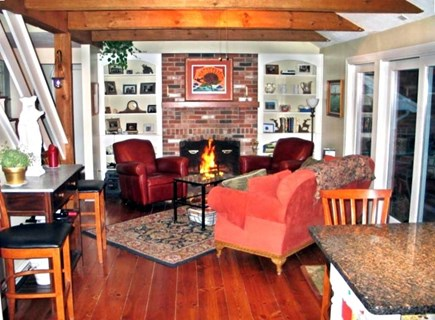 Orleans Cape Cod vacation rental - Comfortable Family Room next to to the Kitchen w/view of backyard