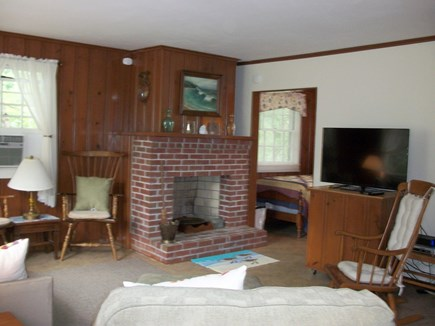 Dennis Cape Cod vacation rental - Large open living room with new furniture, flat screen & AC