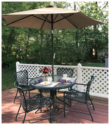 West Dennis Cape Cod vacation rental - Lovely, private back deck with Weber grill and seating for 6