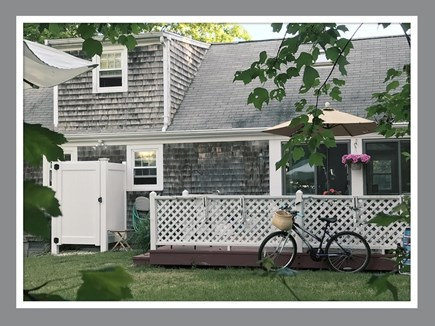 West Dennis Cape Cod vacation rental - view of back deck and outdoor shower!
