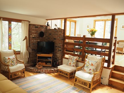 Wellfleet Cape Cod vacation rental - Living room with contemporary setting, cableTV, DVD & many movies