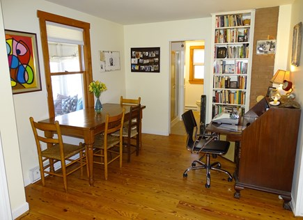 Wellfleet Cape Cod vacation rental - Dining area with desk, access to first floor bathroom