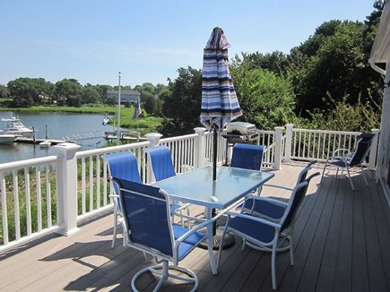 West Dennis Cape Cod vacation rental - Trex Deck with patio furniture and gas grill.
