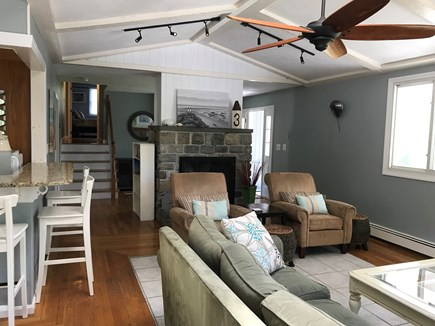Eastham Cape Cod vacation rental - Living room on the main floor with fireplace