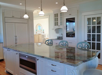 West Yarmouth Cape Cod vacation rental - Large kitchen island, pantry & wine cooler shown