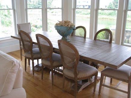 West Yarmouth Cape Cod vacation rental - Dining room table overlooking Sweetheart Creek