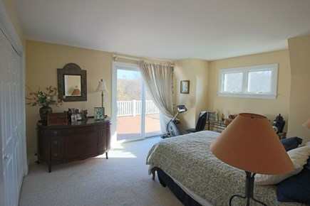 East Dennis Cape Cod vacation rental - The queen size bedroom on 2nd flr w/slider to deck
