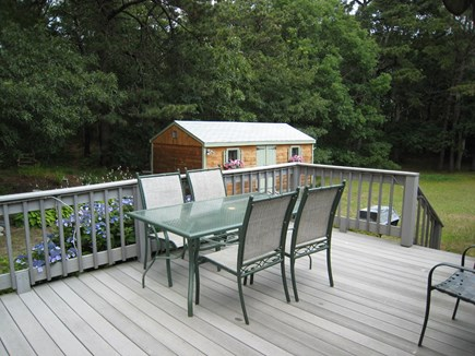 South Dennis Cape Cod vacation rental - Deck with partial view of private yard