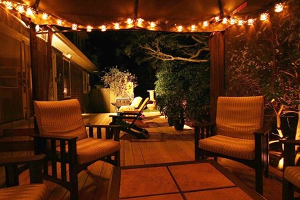 Harwichport Cape Cod vacation rental - Enjoy the night air on the deck.