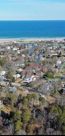 Dennis Cape Cod vacation rental - LOCATION. Blue line is walking route to Mayflower. Green by car