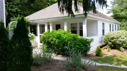 Brewster Cape Cod vacation rental - Front and side with hydrangeas