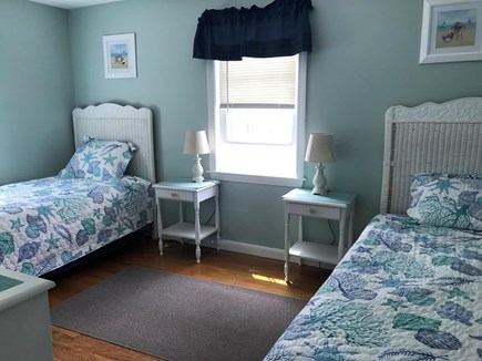 South Dennis Cape Cod vacation rental - 3rd bedroom has 2 twin beds with ceiling fan.