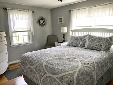 South Dennis Cape Cod vacation rental - Sunny bright master bedroom with tv and ceiling fan, queen size