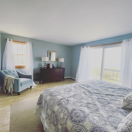 Dennis Cape Cod vacation rental - Master bedroom with king bed,  private full bath & sliders o deck