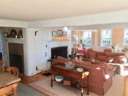 Harwichport, just across from  Cape Cod vacation rental - Living area with two fireplaces. Harbor view.