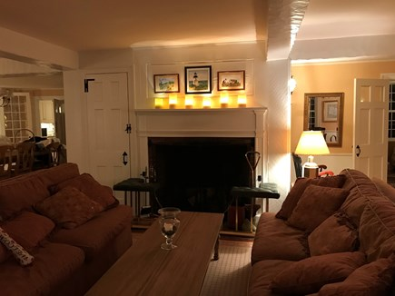 Harwichport, just across from  Cape Cod vacation rental - Large fireplace in inviting living room.