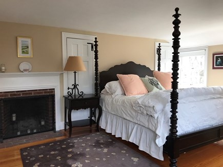 Harwichport, just across from  Cape Cod vacation rental - Master bedroom with fireplace, Lexington king bed and bath.