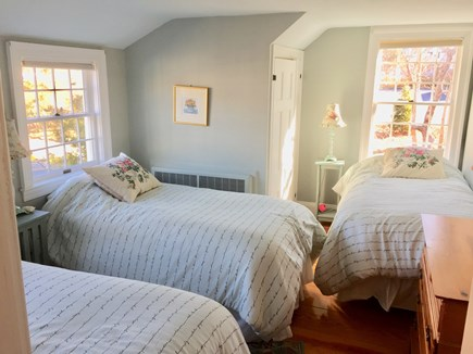 Harwichport, just across from  Cape Cod vacation rental - Upstairs bedroom with three twin beds.