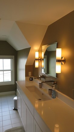 Provincetown Cape Cod vacation rental - Master Bath with large walk in closet and guartz countertops