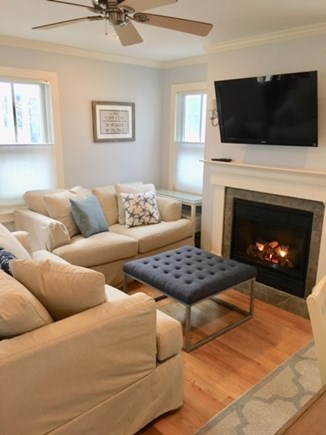 Provincetown Cape Cod vacation rental - Rectangular shape living room with fireplace
